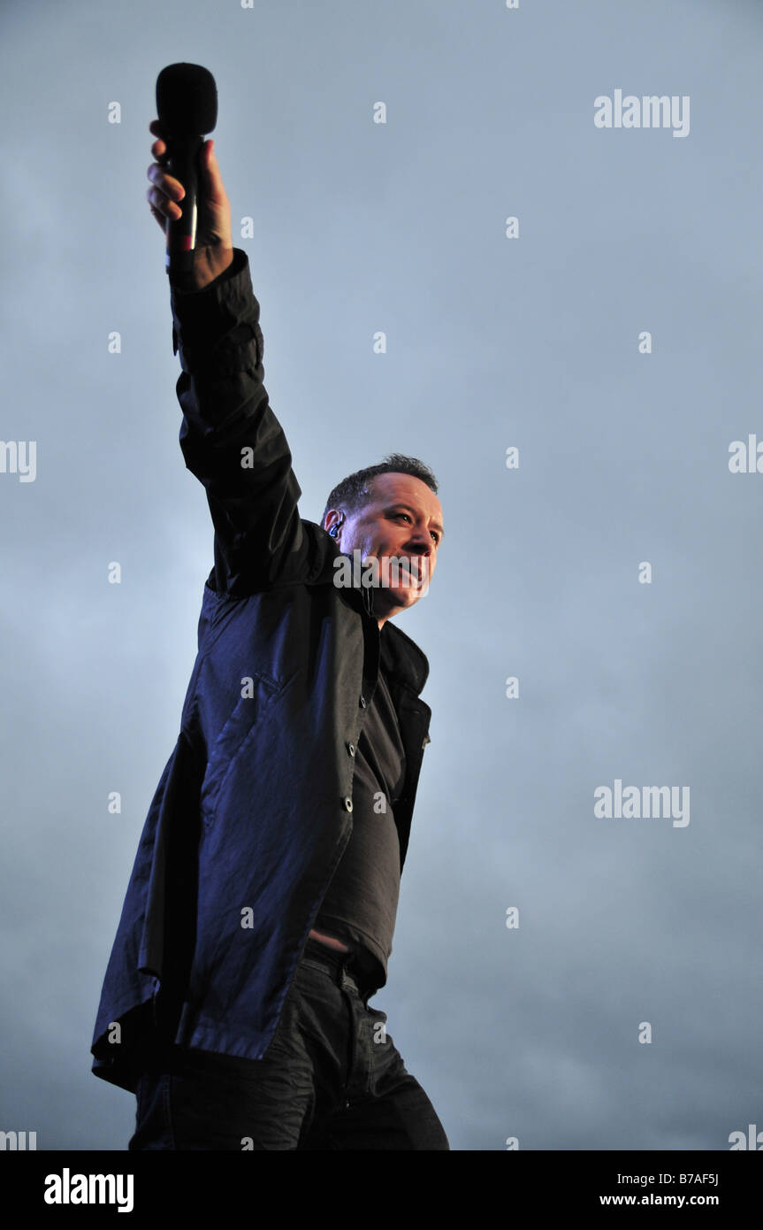 Jim Jerr of Simple Minds performs at a concert in London - Stock Image