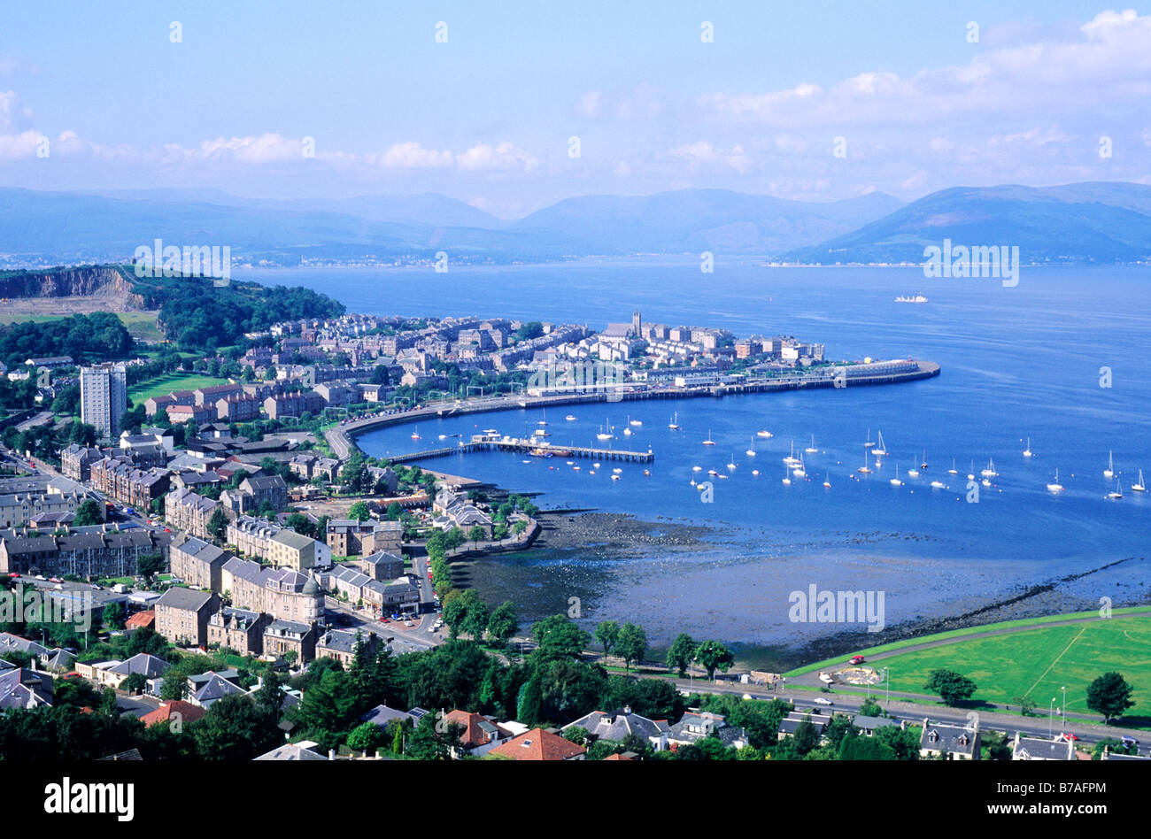 Gourock and Firth of Clyde, Scotland UK Clydeside Scottish town port harbour UK townscape seascape landscape view - Stock Image