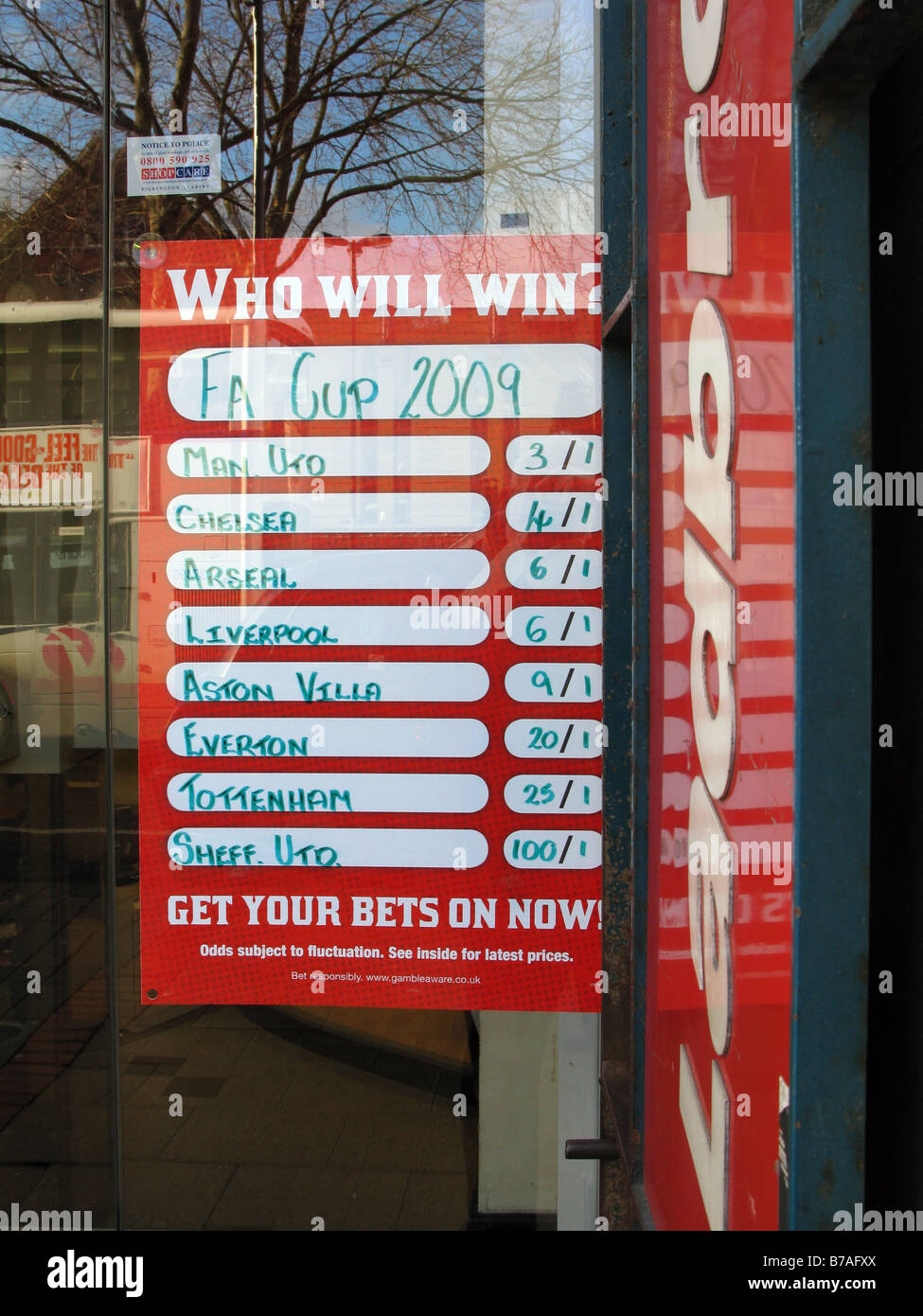 Betting Shop Odds - Stock Image