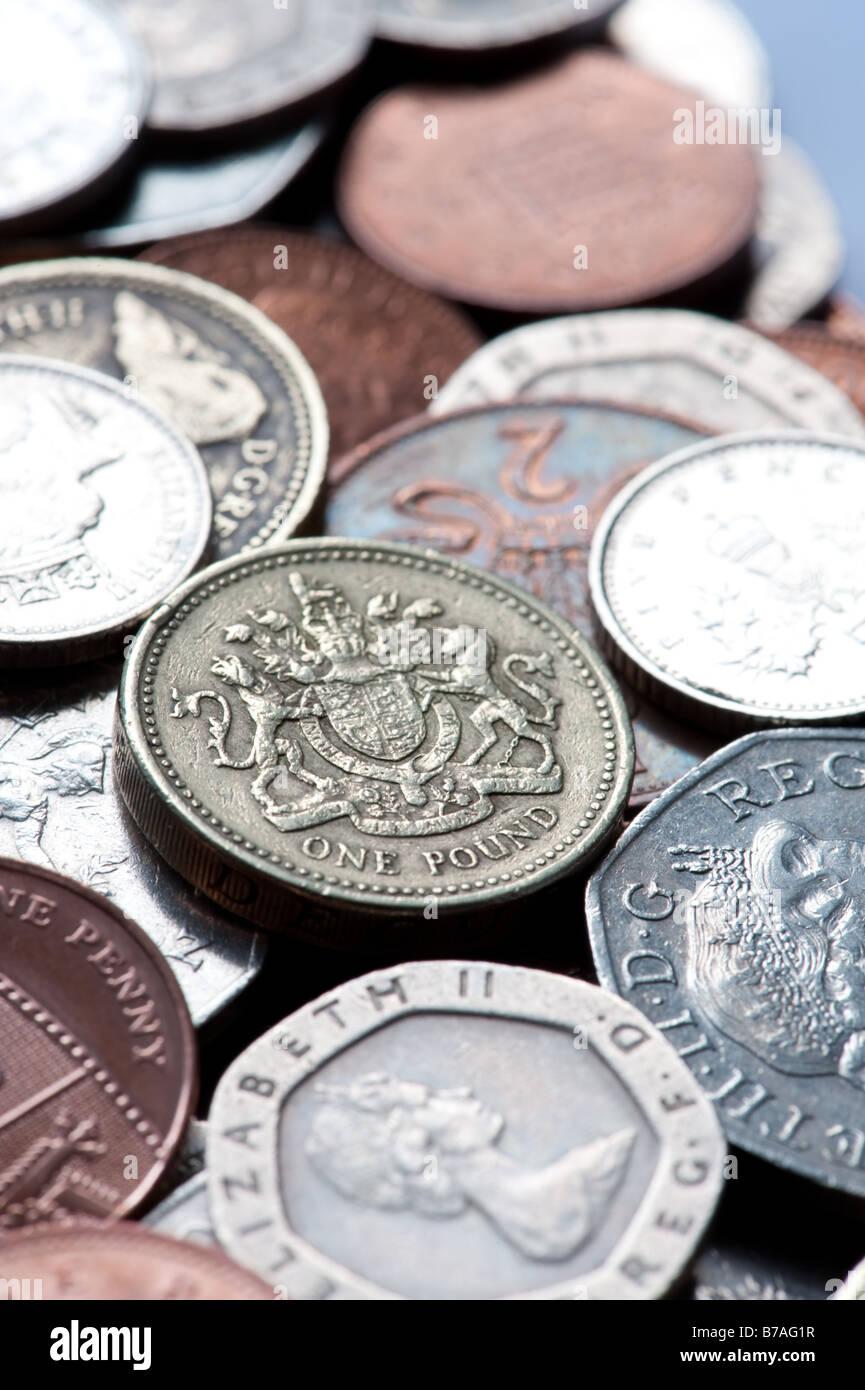 cash coins money UK sterling pound pennies british saving coin english - Stock Image