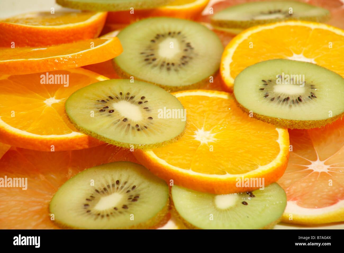Grapefruit Orange and Kiwi - Stock Image