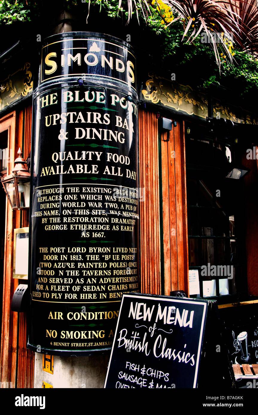 Simonds Pub London sign board billboard message communication advertising - Stock Image