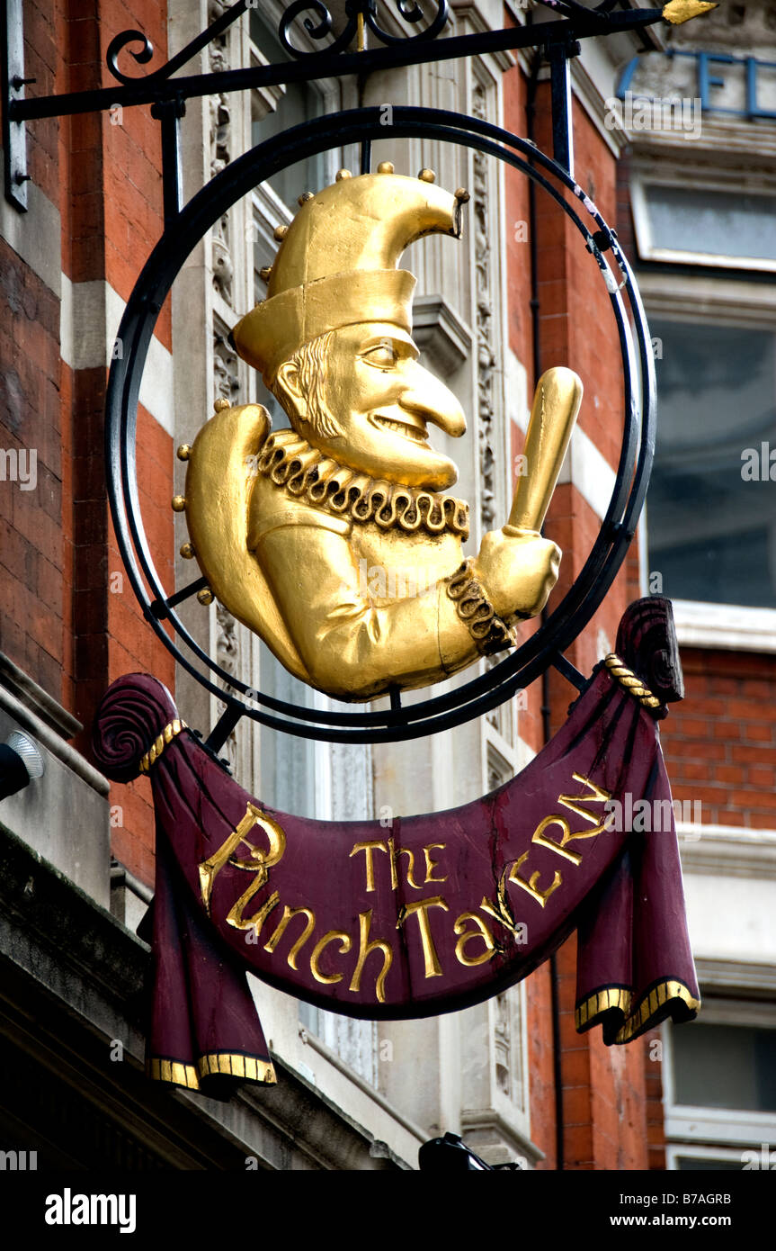 The Punch Tavern London pub bar sign board billboard - Stock Image