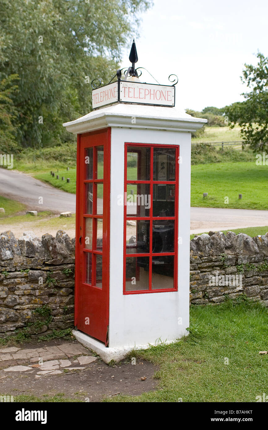 Telephone Kiosk in Tyneham, Dorset. The village was abandoned in 1943 so it could be used to practise the D-Day - Stock Image