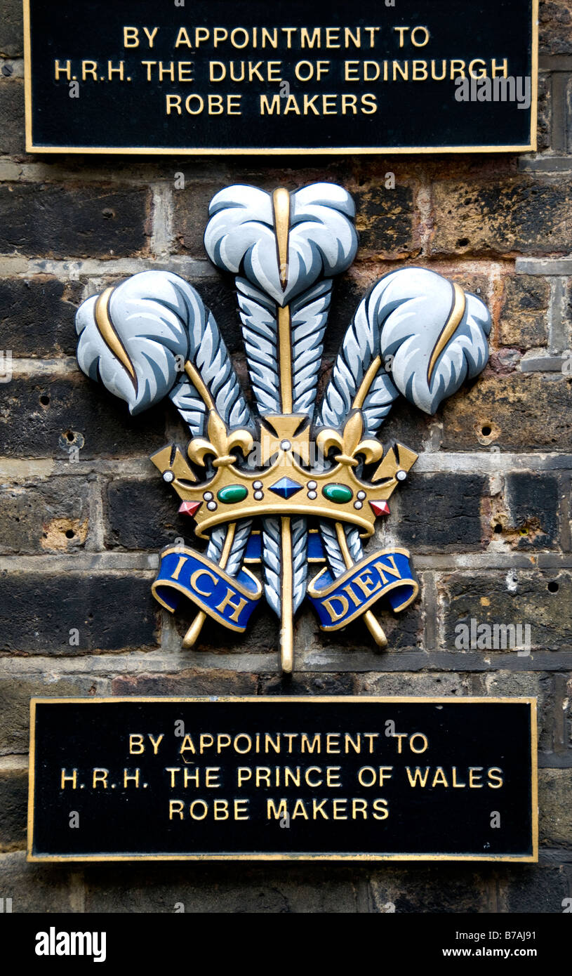 By appointment to H.r.H The Duke of Edinburgh Robe Makers Old Bond Street The Prince of Wales - Stock Image