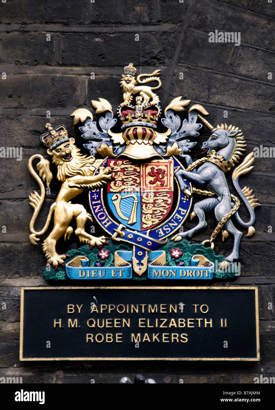 By appointment to H.M. Queen Elizabeth ll  2 Robe Makers Old Bond Street - Stock Image