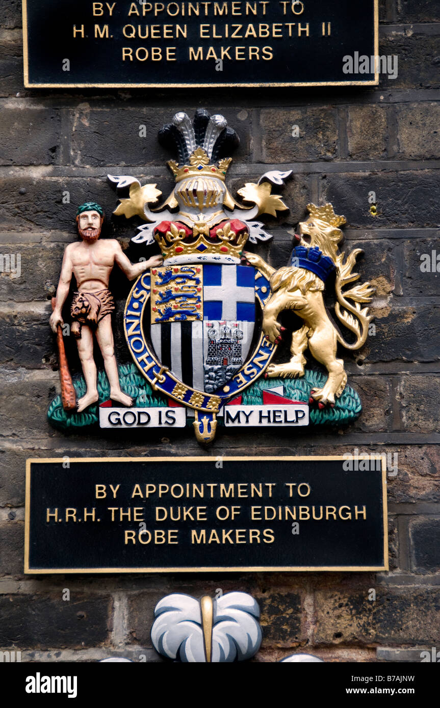 By appointment to H.r.H The Duke of Edinburgh Robe Makers Old Bond Street - Stock Image