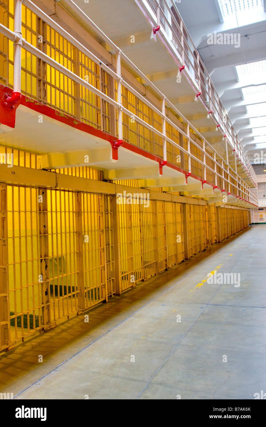 Cells in Alcatraz Penitentiary San Francisco USA Stock Photo