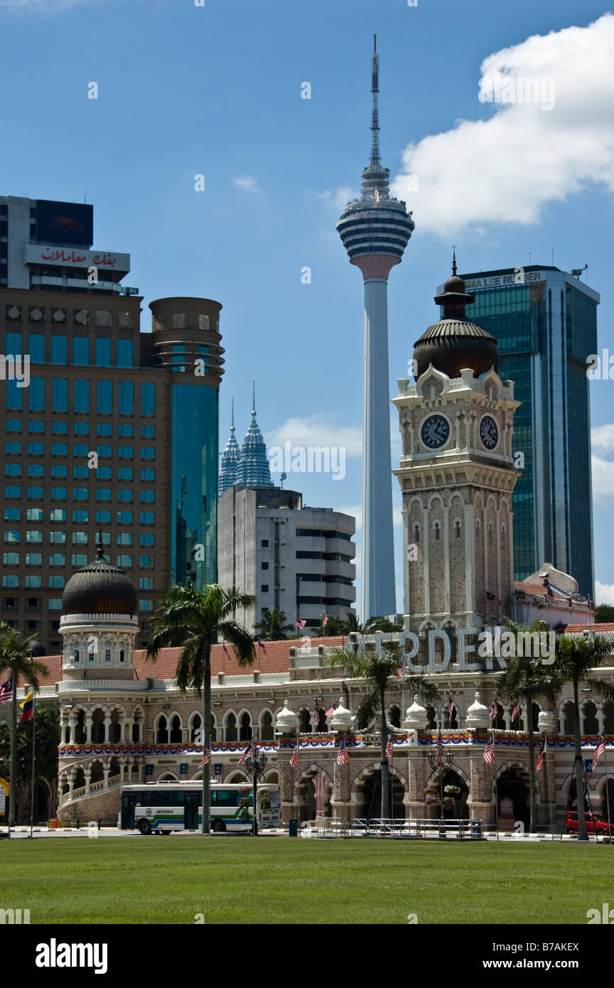Buildings including the KL Tower viewed from the Padang in Kuala Lumpur, Malaysia - Stock Image