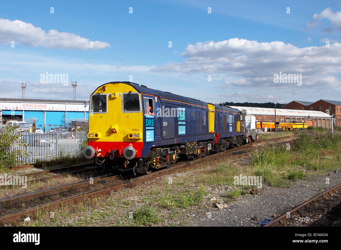 Two DRS class 20's stabled with a train of nuclear waste at Worcester Shrub Hill. - Stock Image