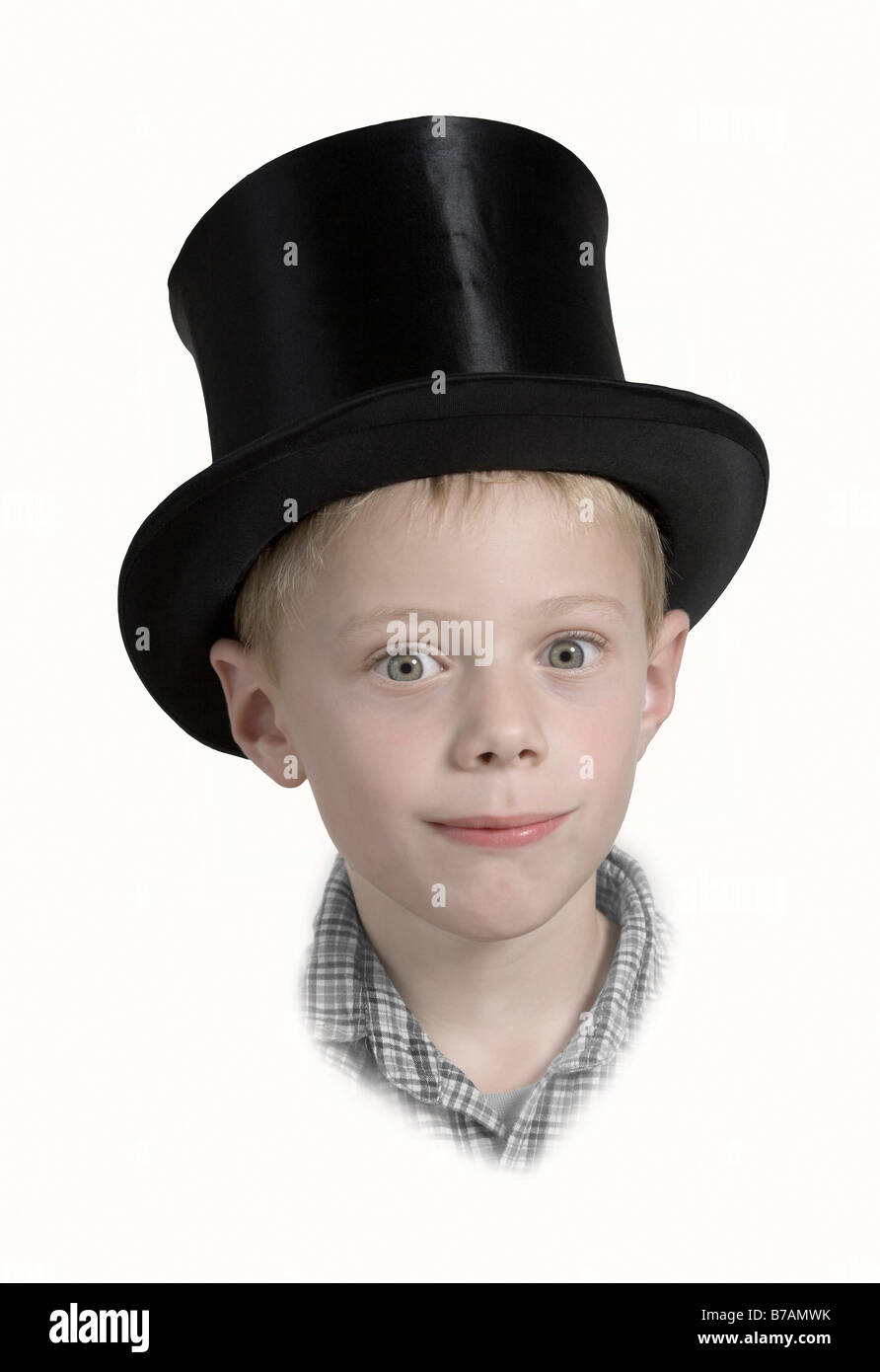 6-year-old boy wearing a top hat, nostalgia - Stock Image