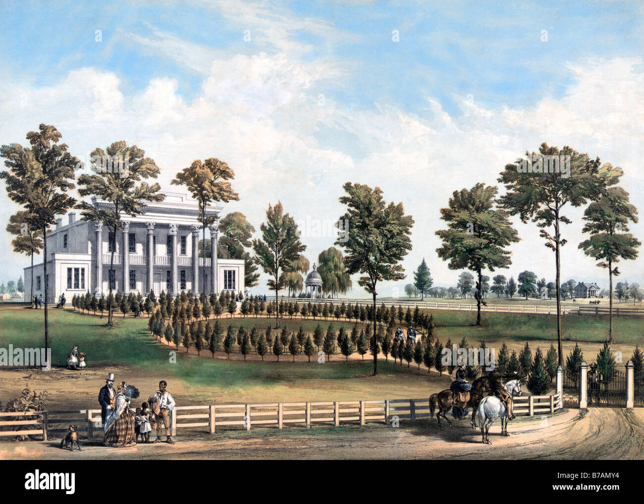 Hand tinted old print of The Hermitage, Home of Andrew Jackson USA President and General, circa 1856 - Stock Image