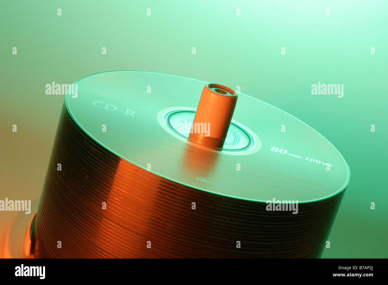 CDs on spindle Stock Photo