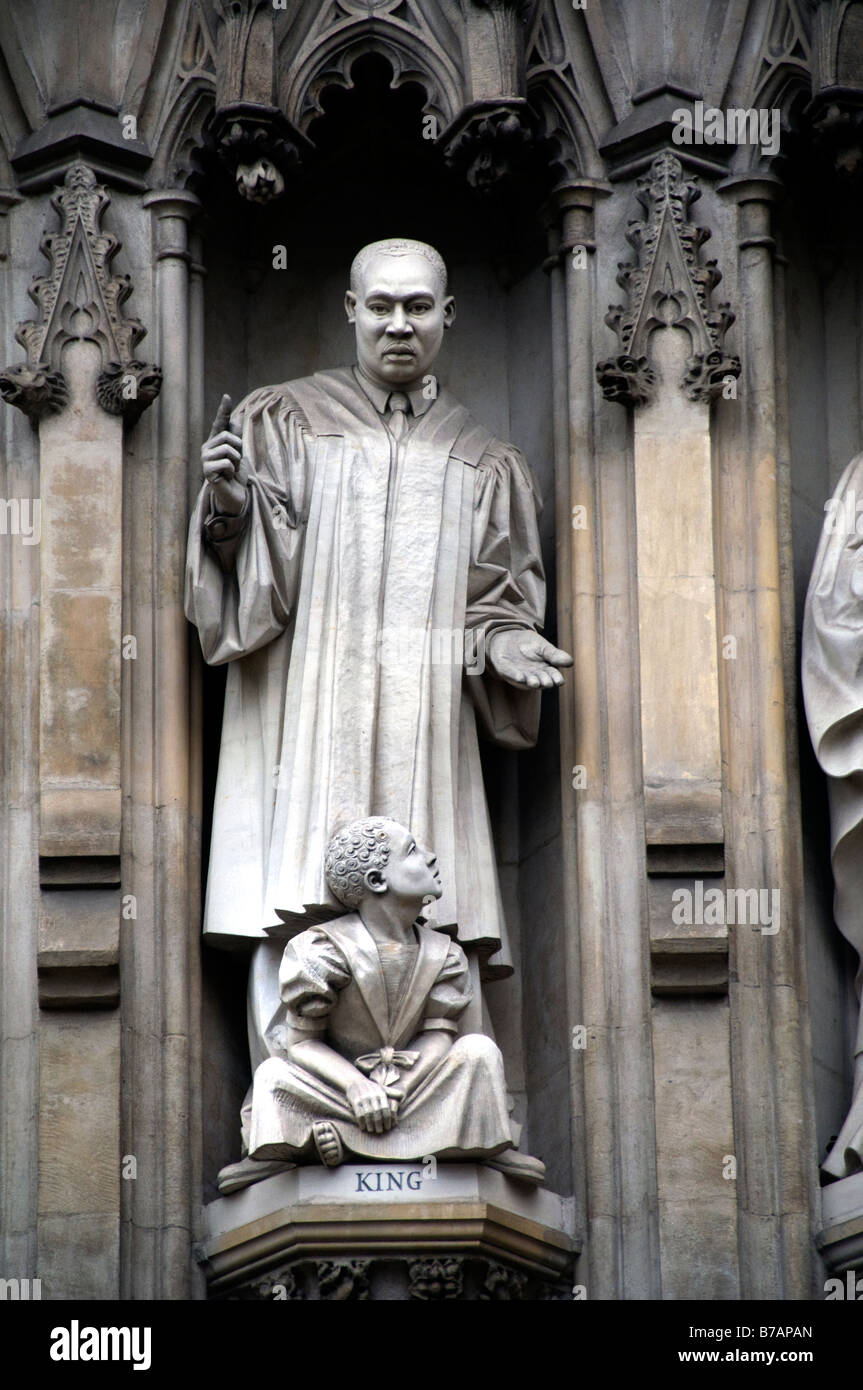 Martin Luther King Westminster Abbey medieval architecture London England - Stock Image