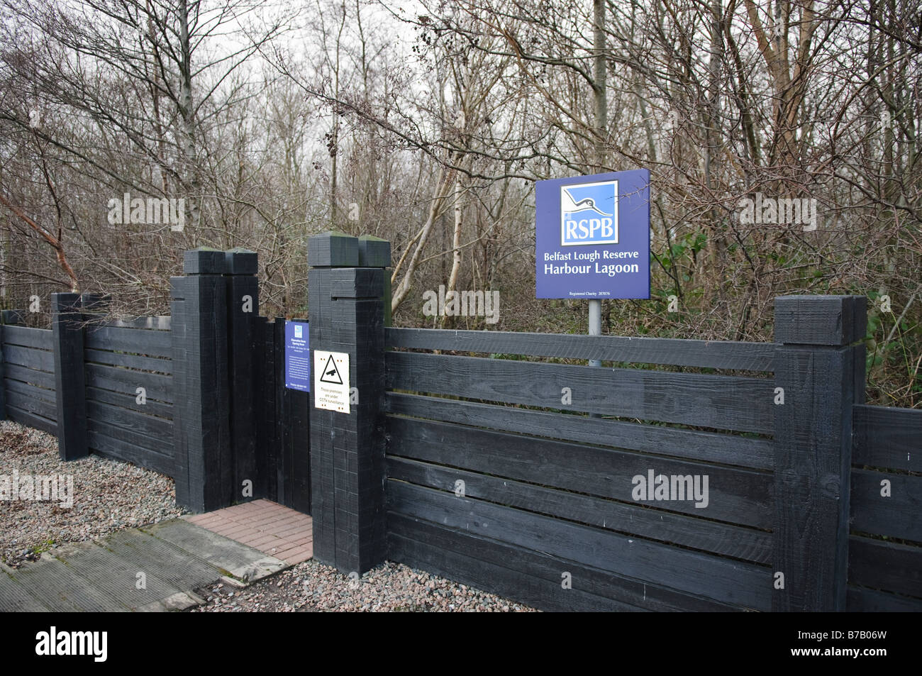 Entrance to bird hide at the RSPB Reserve, Belfast Lagoon at Belfast Lough. - Stock Image