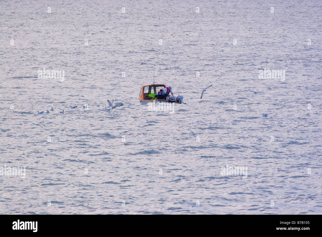 Llangrannog Beach Cardiganshire Cardigan bay Wales UK Fishing boat - Stock Image