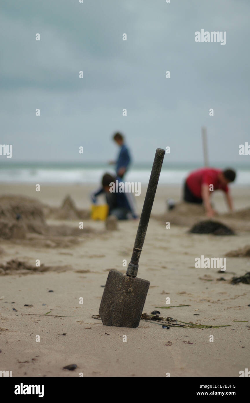 Boys on beach - Stock Image