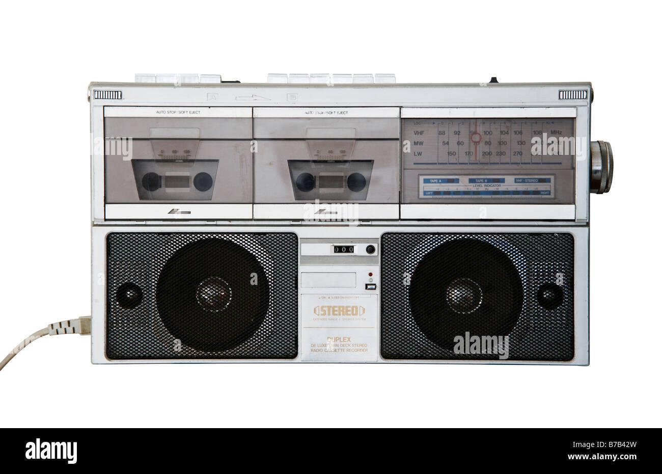 1980s Retro Stereo Radio Cassette Recorder - Stock Image