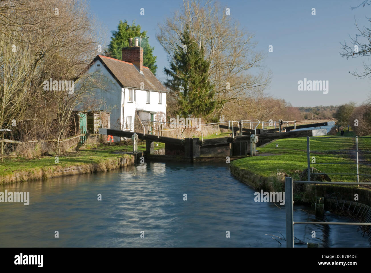 Cobbler's Lock on the Kennet and Avon Canal near Hungerford Berkshire Uk - Stock Image