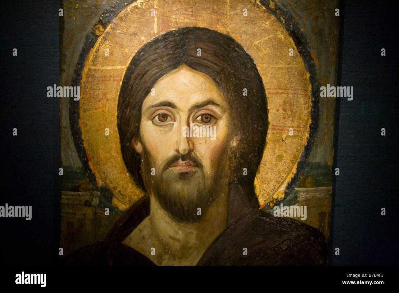 Painting of Jesus Christ in the Sacred Sacristy Museum in St Katherine Monastery on the Sinai Peninsula in Egypt - Stock Image