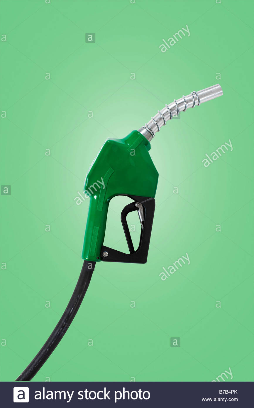Green gasoline pump - Stock Image