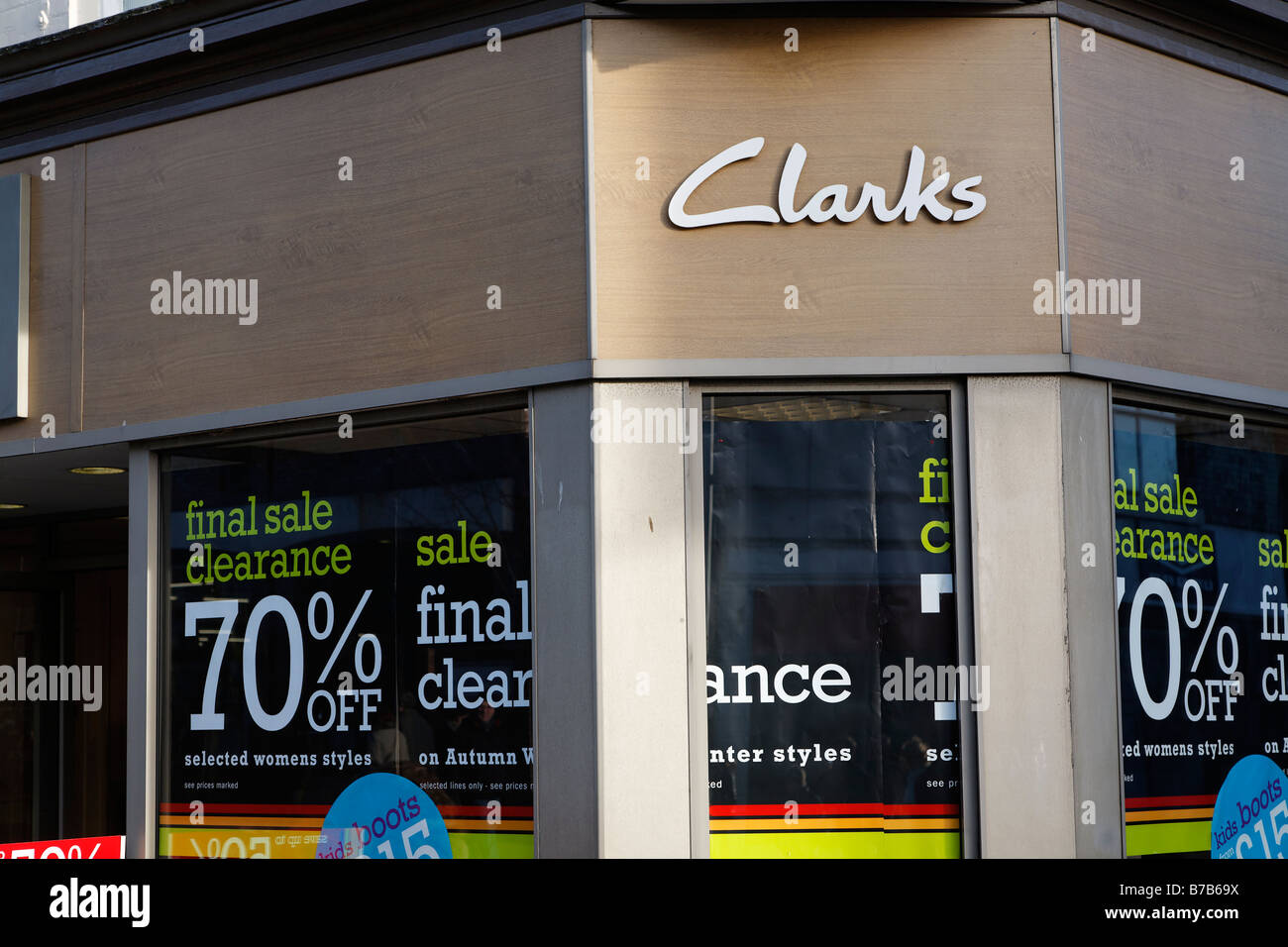 0bb2b15a Clarks shoe shop sale High street shops and shopping January 2009 - Stock  Image