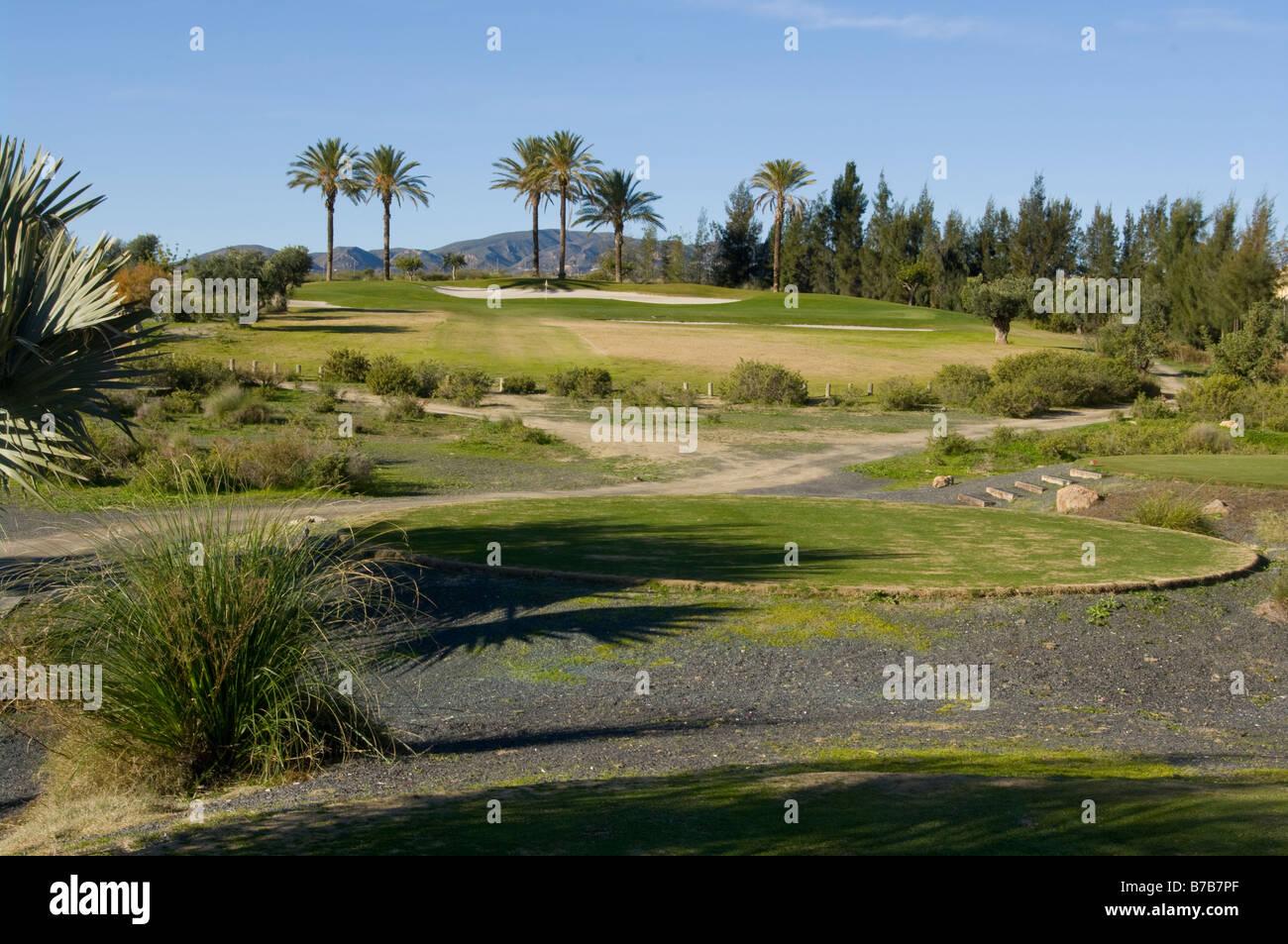 'Par 3' '4th Hole' Valle Del Este Golf Course Resort Vera Almeria Spain Spanish Golf Courses - Stock Image