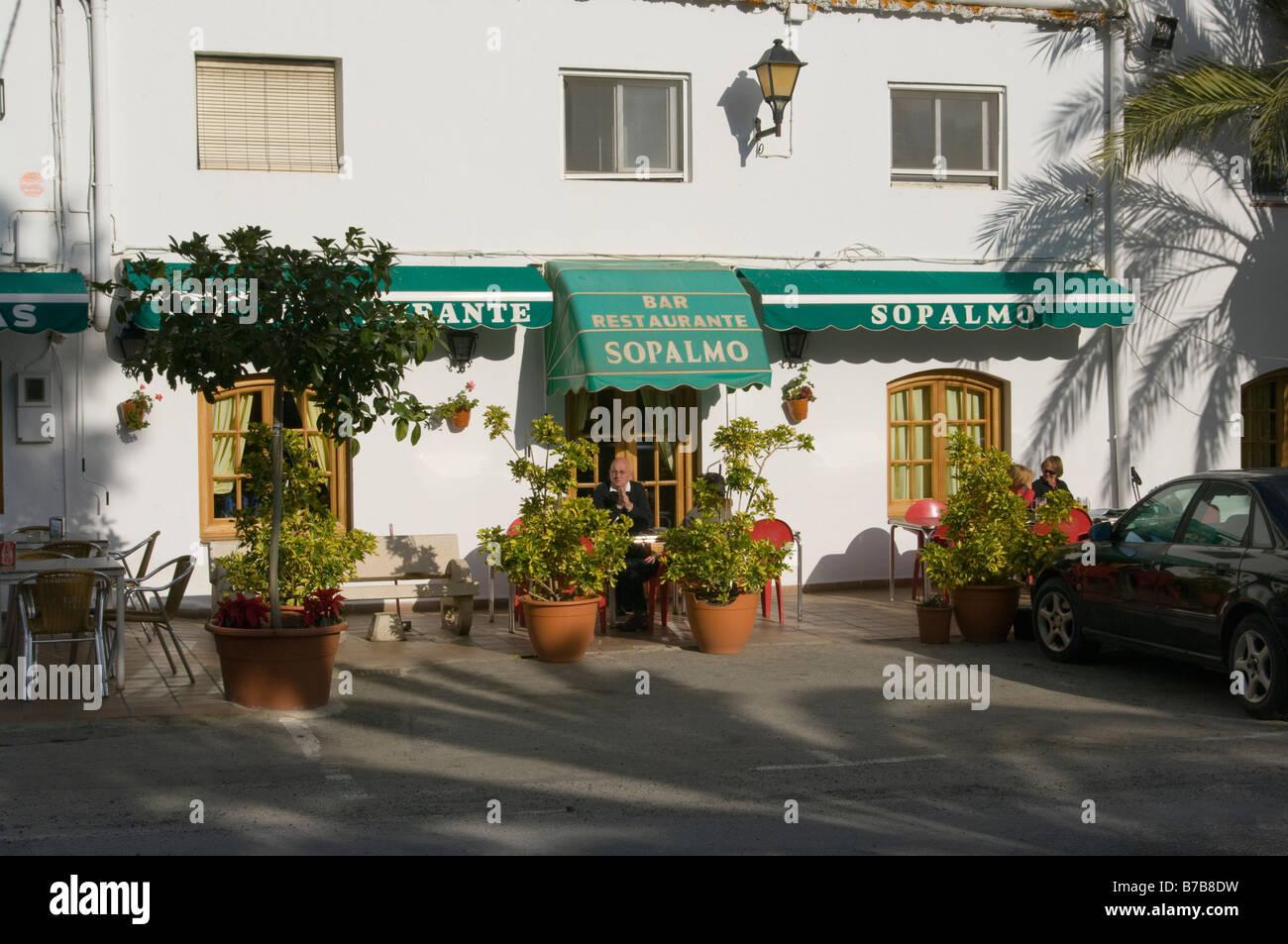 Restaurant In The Spanish Village Of Sopalmo Almeria Spain   Stock Image