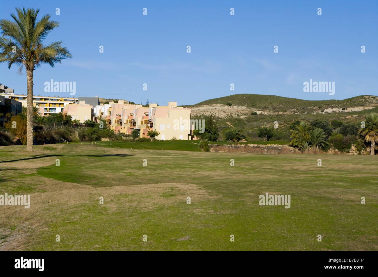 'Par 4' '3rd Hole' Valle Del Este Golf Course Resort Vera Almeria Spain Spanish Golf Courses - Stock Image