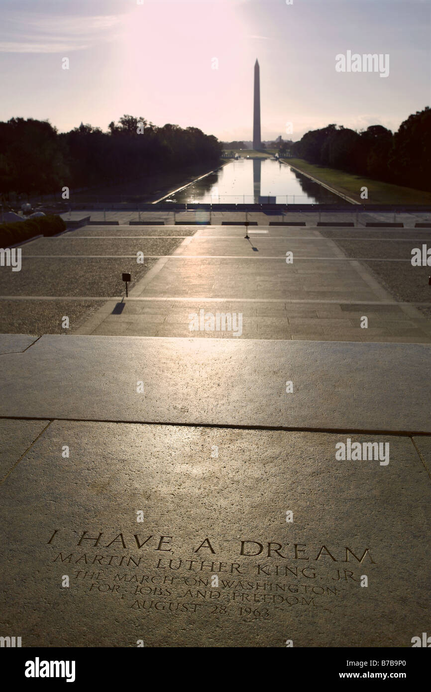 Martin Luther King Jr. Quote, Lincoln Memorial Steps, Washington D.C., USA - Stock Image