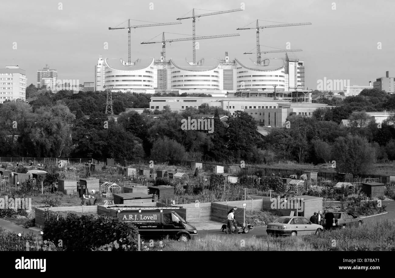 The new Queen Elizabeth Hospital, Edgbaston, Birmingham under construction. This view show allotments foreground. - Stock Image