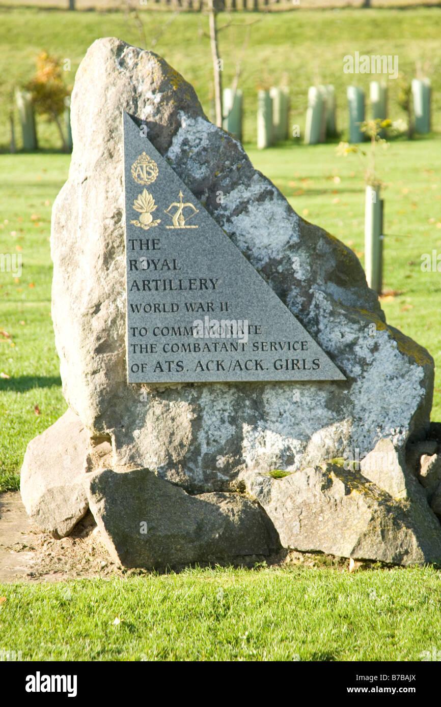 Auxiliary Territorial Servive Girls Ack Ack Memorial at the National Memorial Arboreteum at Alrewas in Staffordshire, - Stock Image