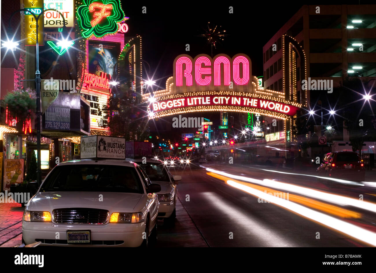 Virginia St Reno Nevada at night Biggest little city in the World - Stock Image