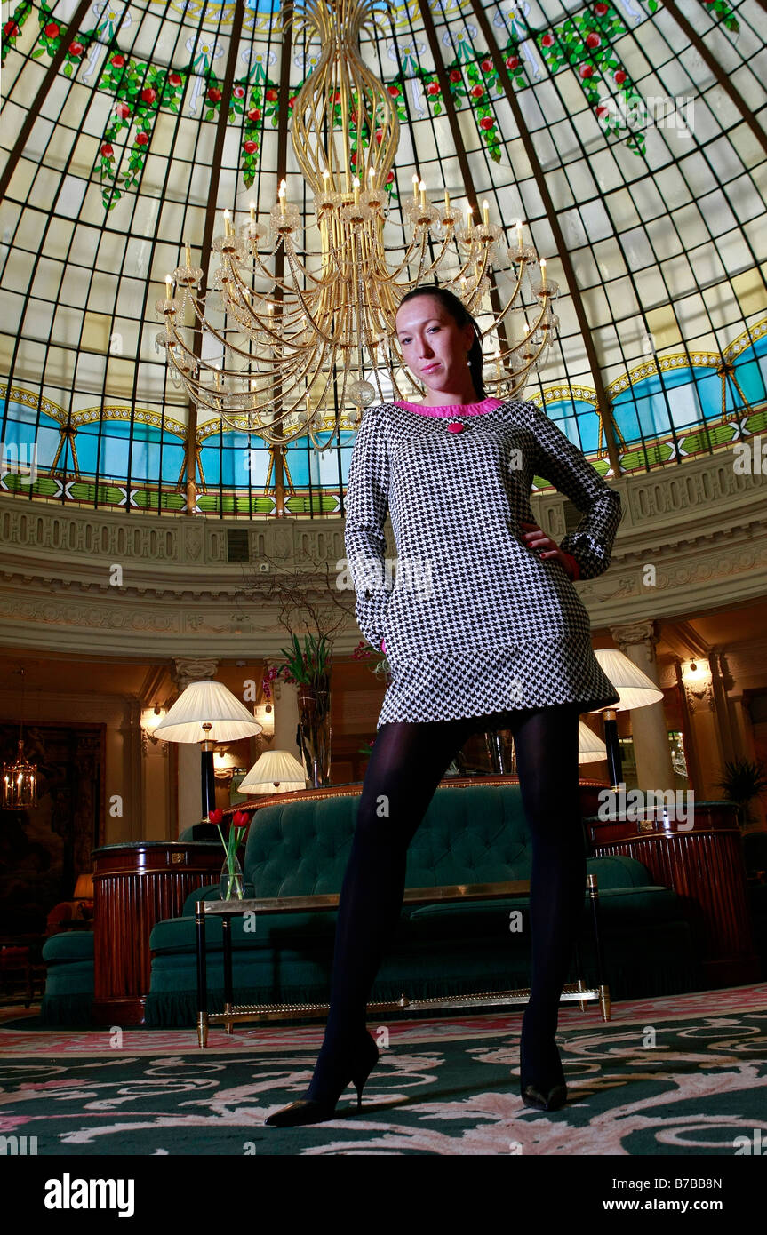 Portrait of Serbian tennis player Jelena Jankovic in the lobby of the Palace hotel in Madrid, Spain. - Stock Image