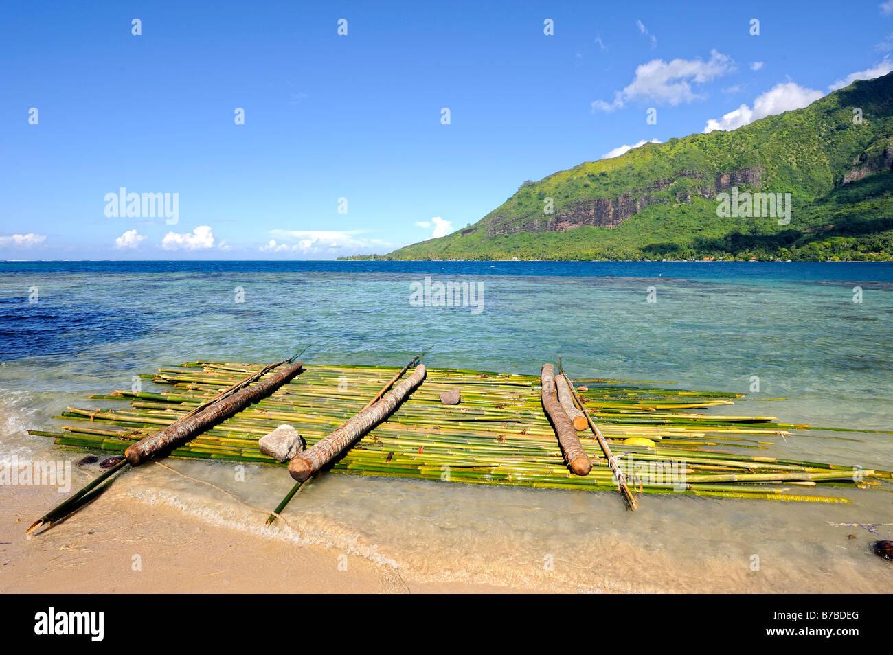 Raft in bamboo along the beach of Opunohu Bay, Moorea, French Polynesia - Stock Image