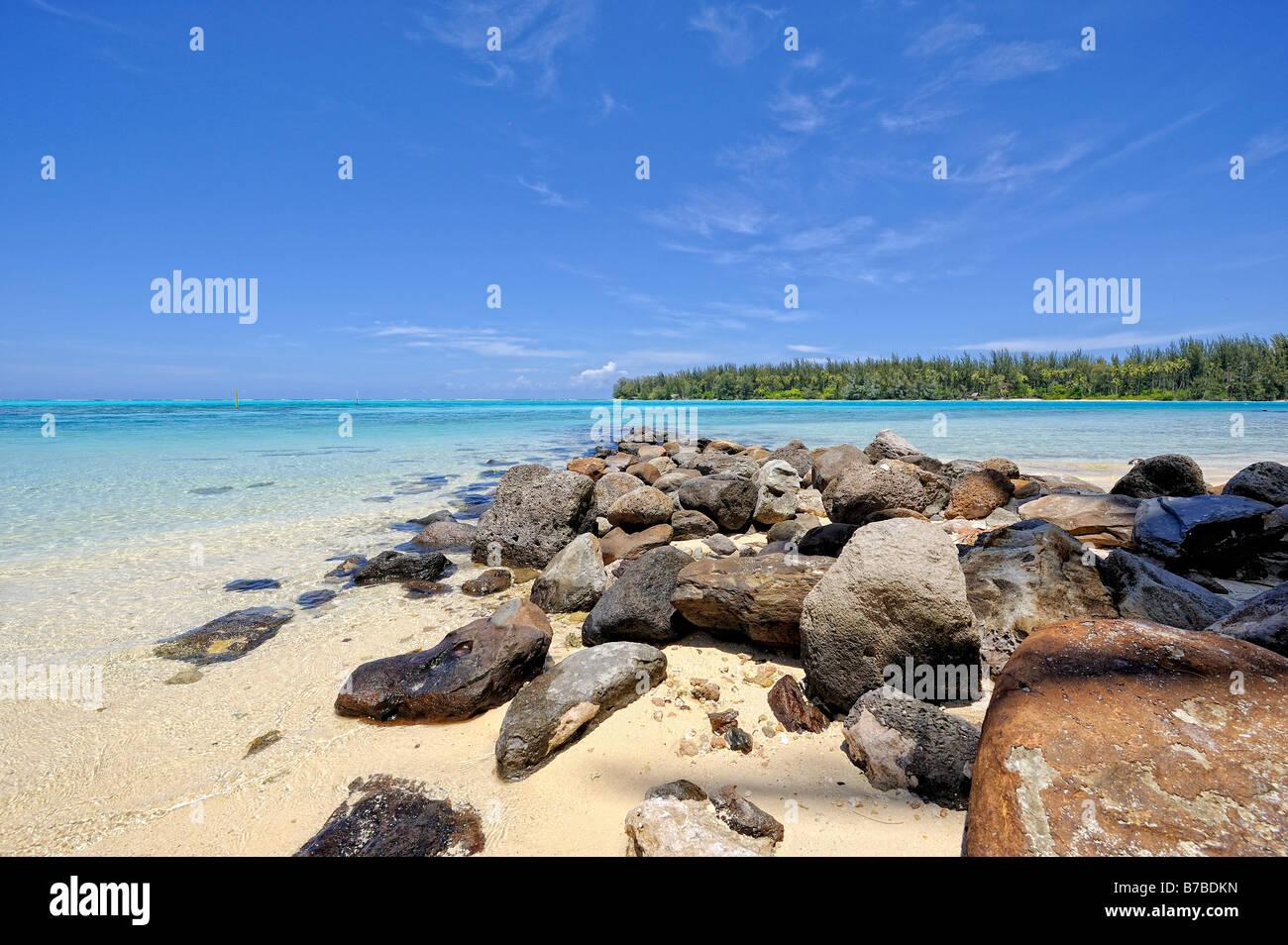 Stony pier on a beach of Papetoia, Moorea, French Polynesia - Stock Image