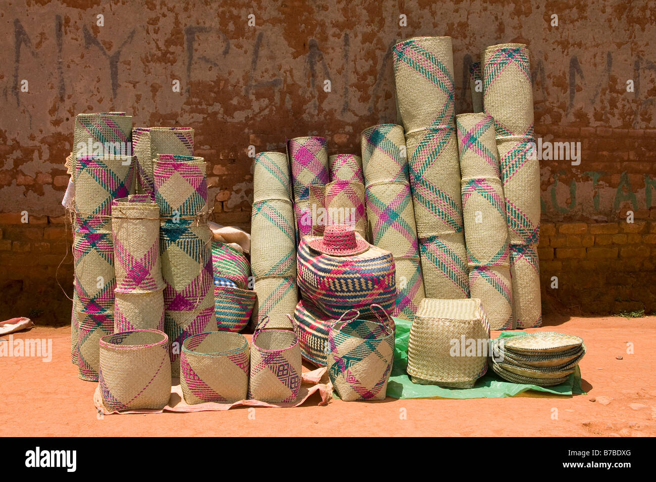 Hand woven baskets on sale Madagascar - Stock Image