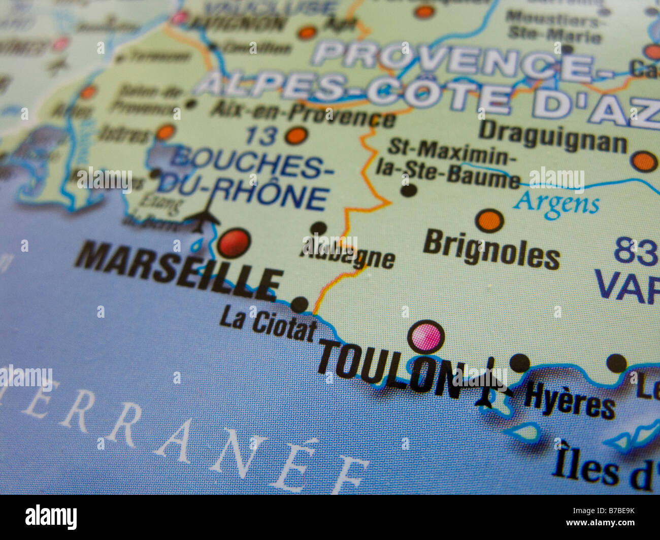 Map of France showing Marseille and Toulon and its surrounding areas