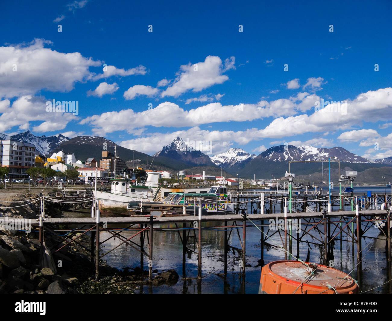 Pier Ushuaia Patagonia Tierra de Fuego Province Argentina South America - Stock Image