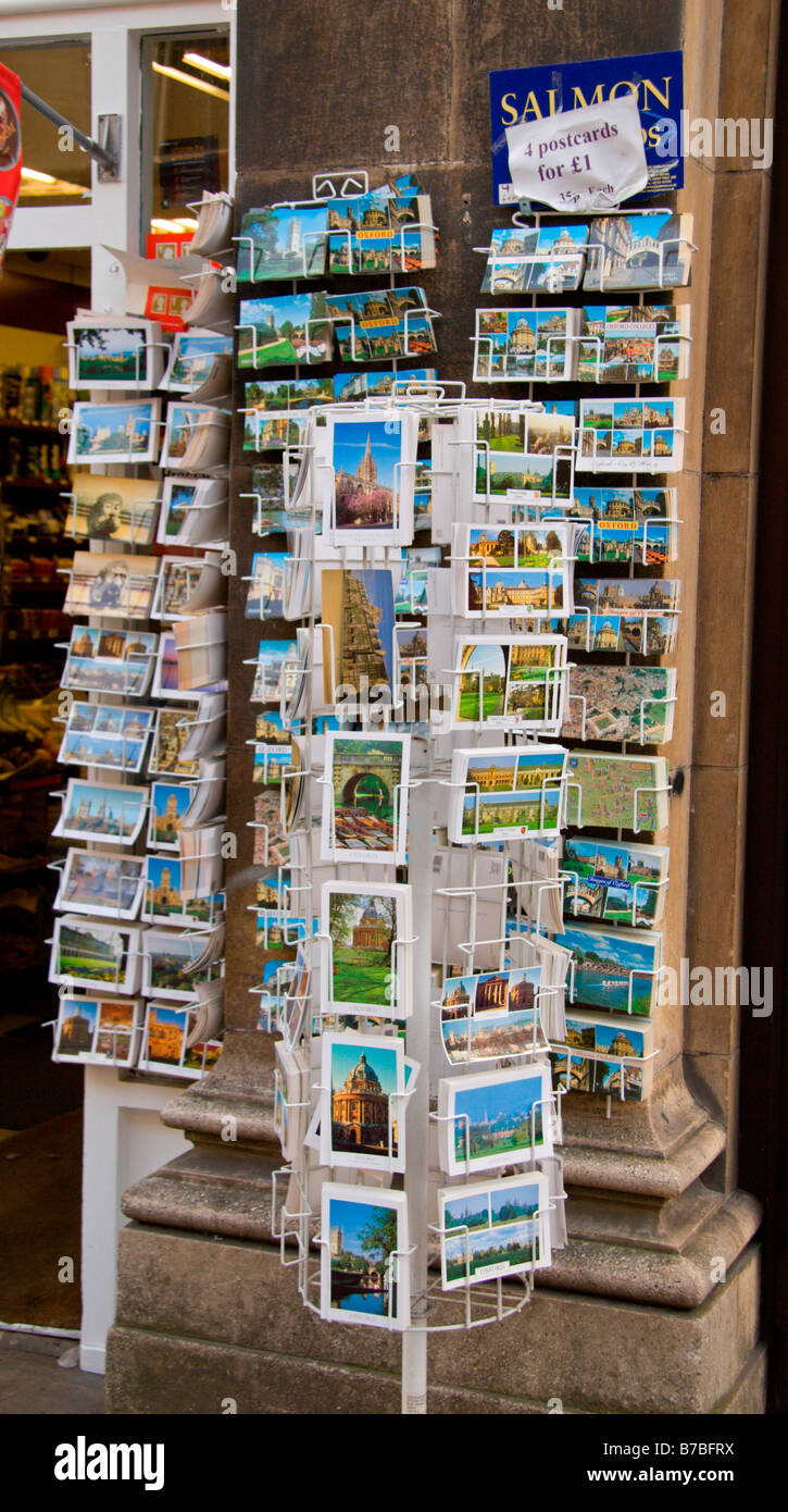 Postcards on display outside a shop in Oxford, England. Jan 2009 - Stock Image
