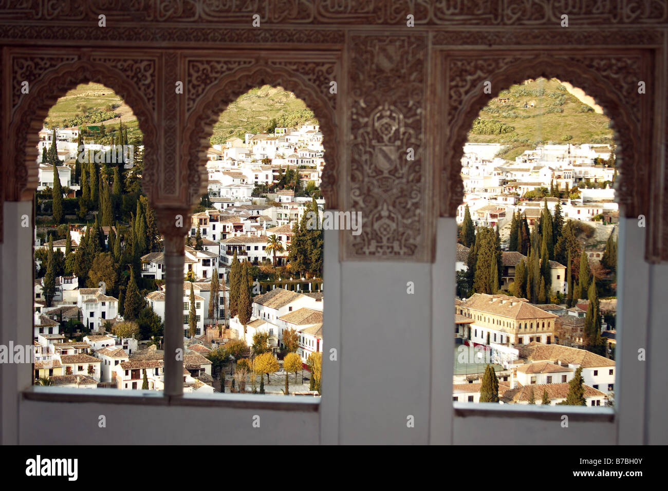 Albaycin view from La Alhambra windows in Granada, Spain. Stock Photo