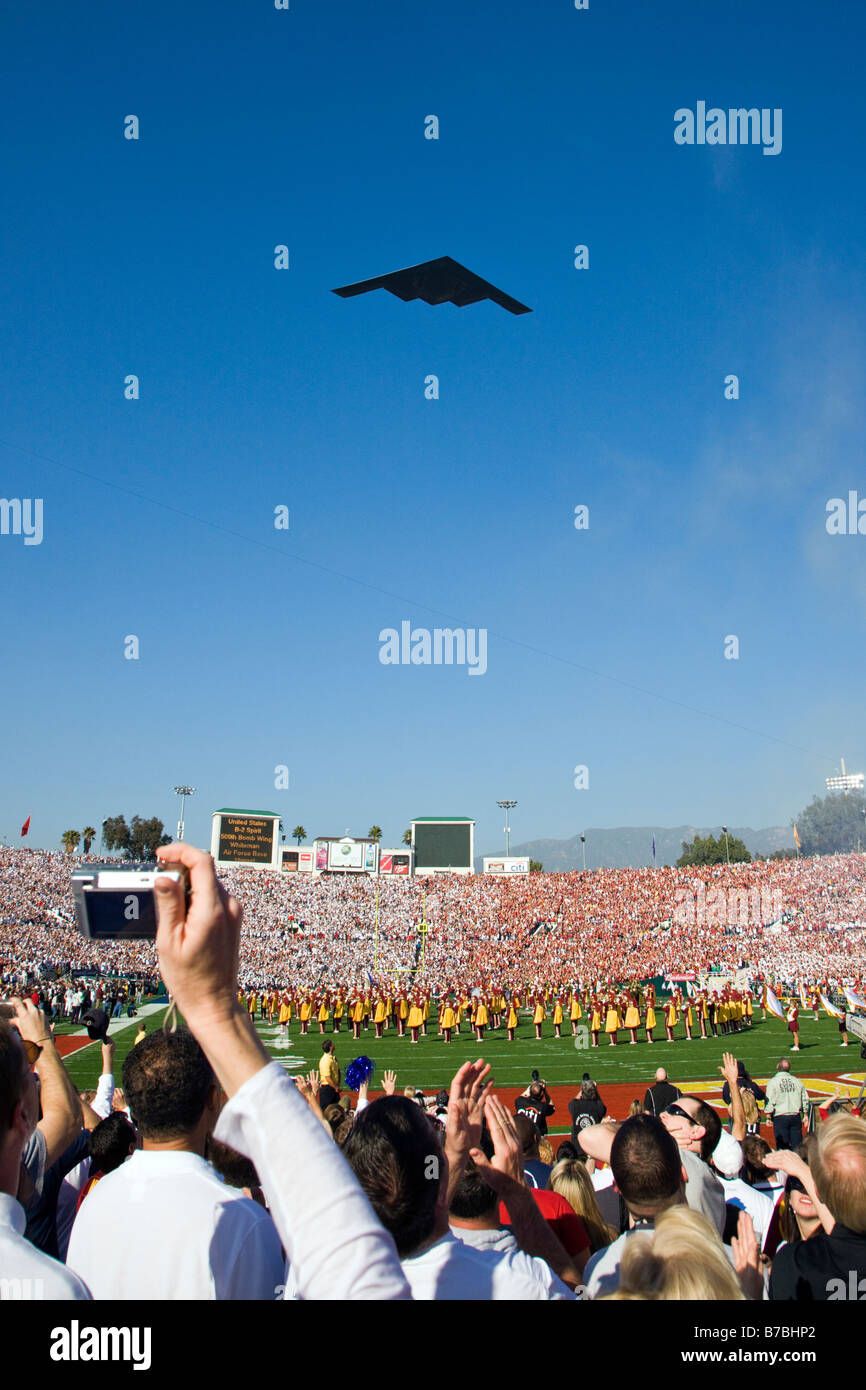 Lockheed F-117 Nighthawk, or Stealth Fighter jet, over the annual New Years Day Rose Bowl game, Pasadena, California, Stock Photo
