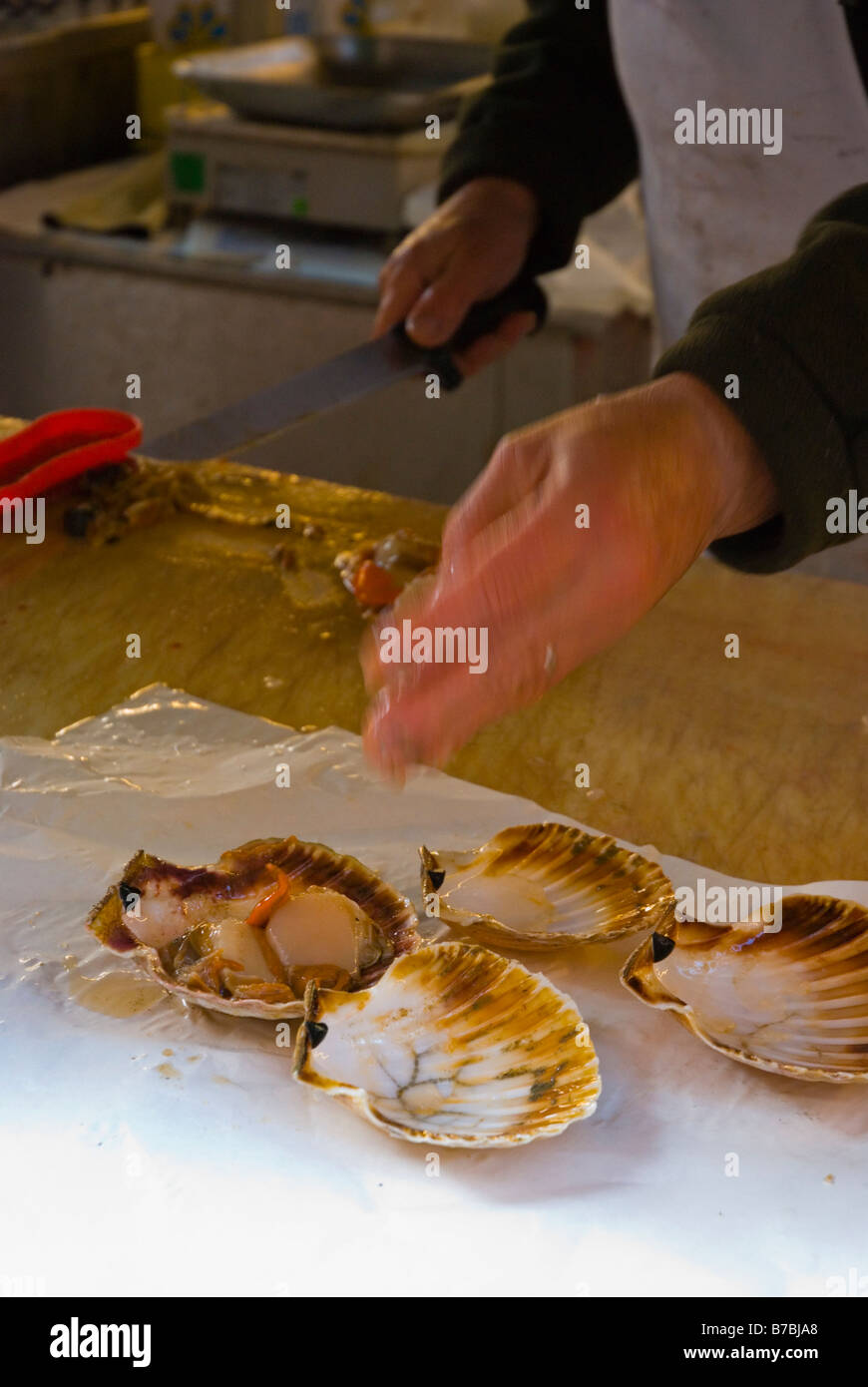 Stall at fish market at Campo della Pescaria square in Venice Italy Europe - Stock Image