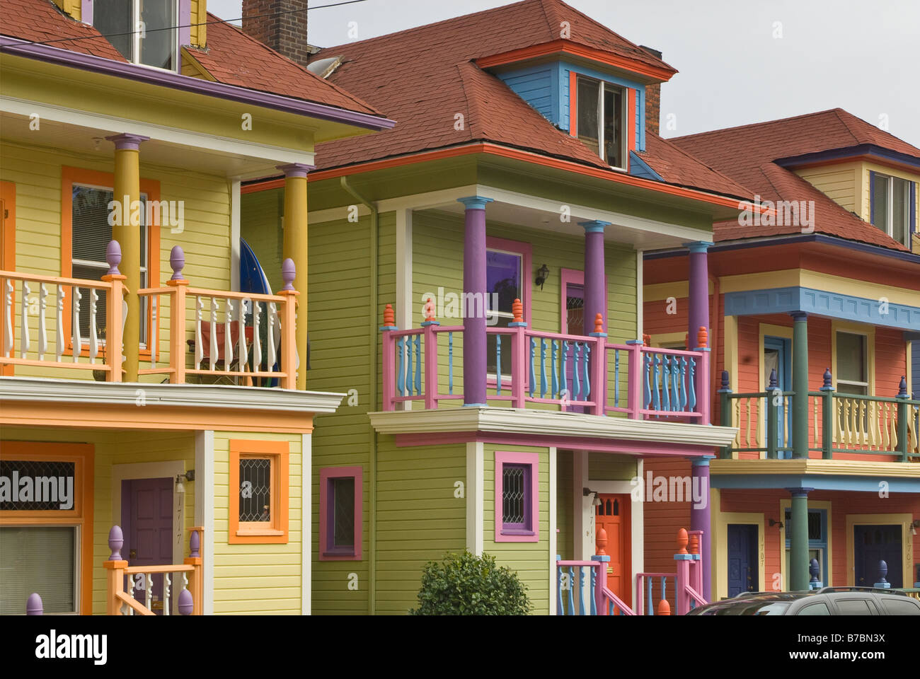 Colorful new rowhouses on NW Glisan Street in Alphabet District of Portland Oregon USA Stock Photo