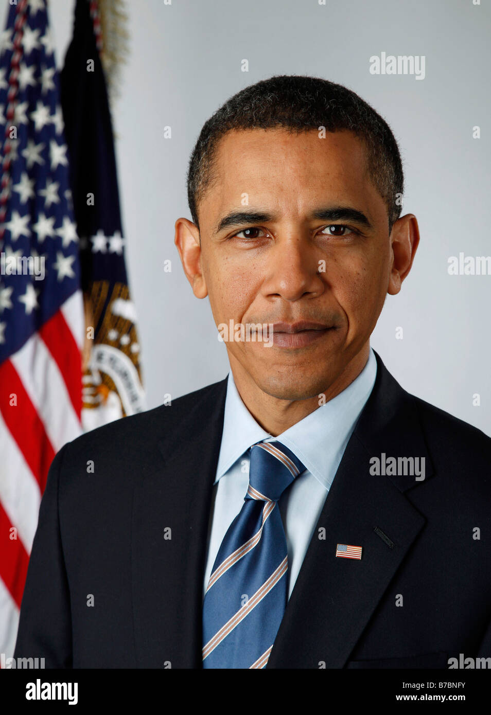 Official portrait of President Barack Obama on Jan 13 2009 - Stock Image
