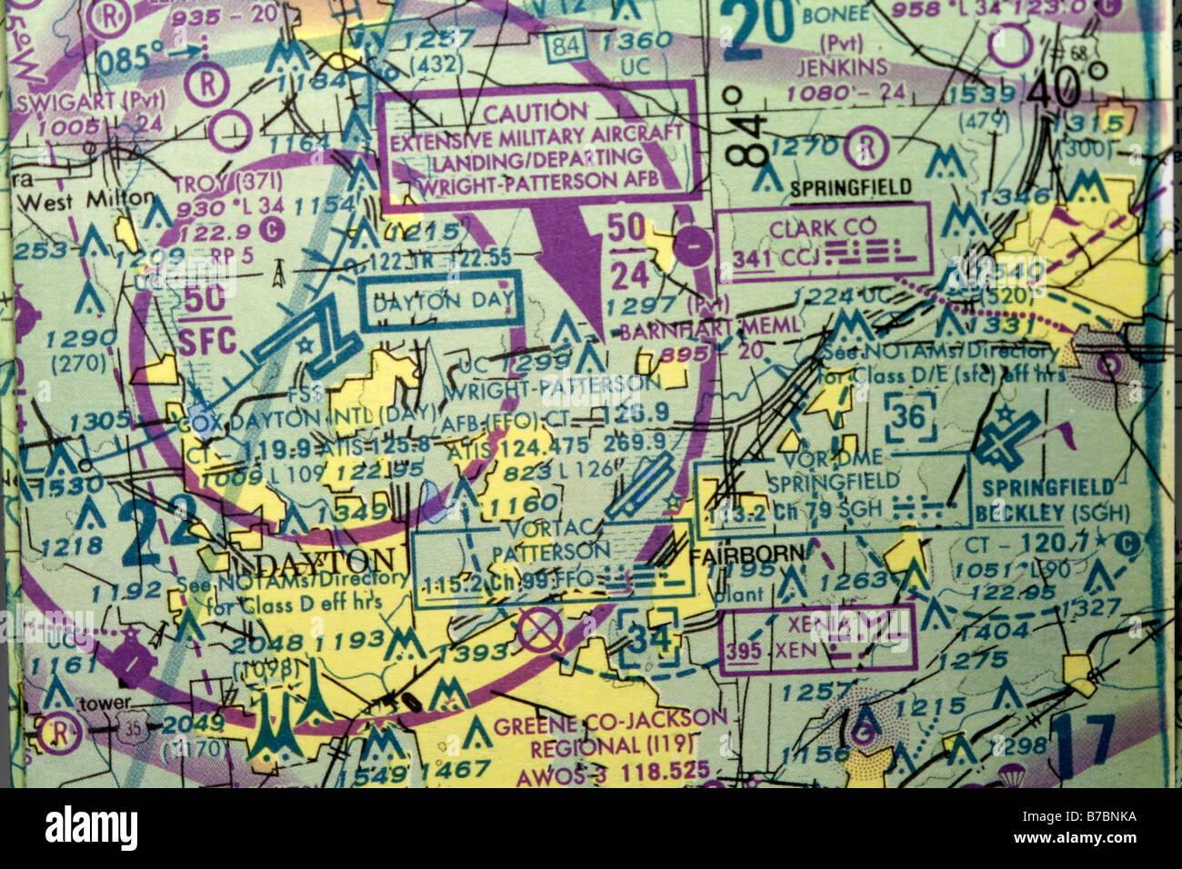 Portion of US sectional aeronautical chart showing Dayton Ohio and