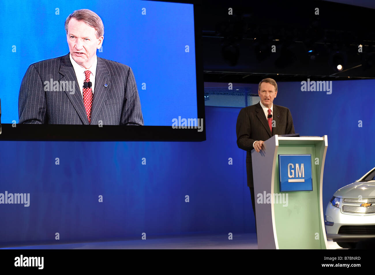 General Motors Chairman and Chief Executive Officer Rick Wagoner at the 2009 North American International Auto Show Stock Photo