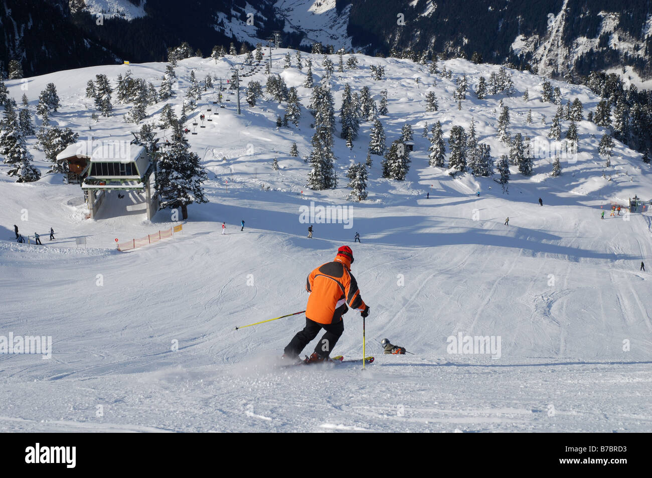 skiing in the Ahorn mountains Mayrhofen Austria - Stock Image