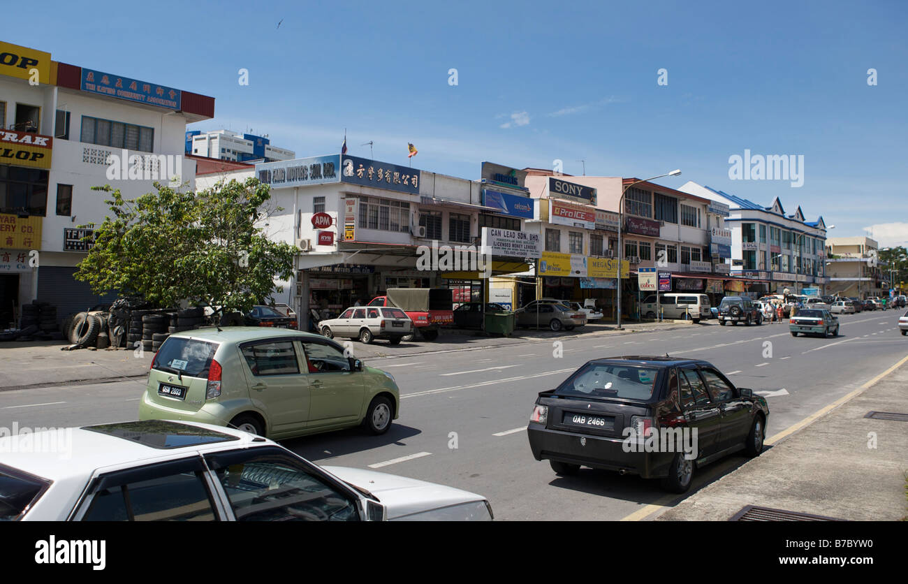 A normal street view of Miri town center in Malaysia - Stock Image