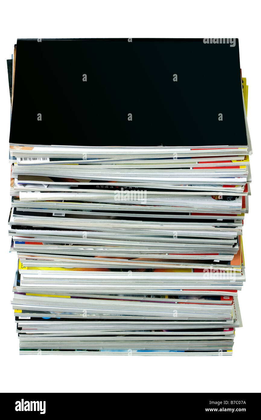 Stack of magazines isolated on white top magazine is blank for your own design - Stock Image